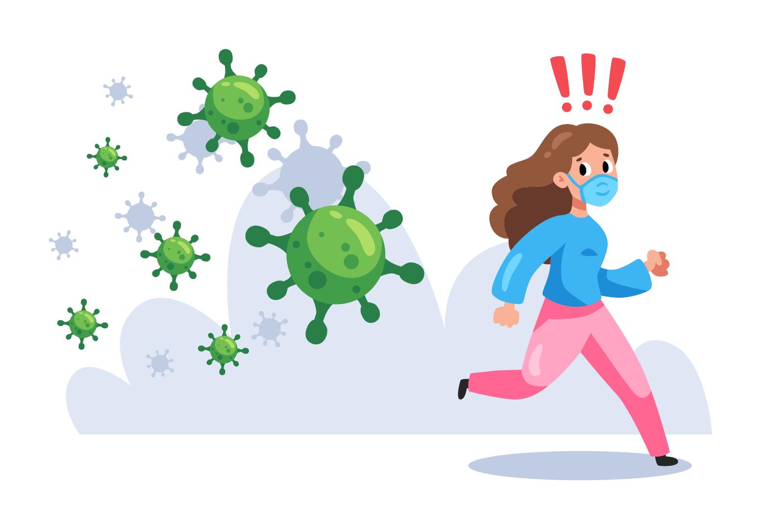 Dibuix d'una noia fugint del coronavirus